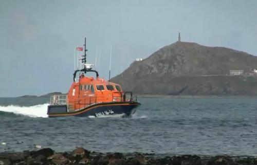 Sennen Lifeboat with Cape Cornwall