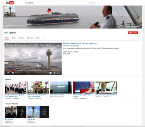 Calshot NCI YouTube channel screen